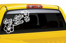 One Life Live It Hibiscus Flower Sticker Decal VW  - Large